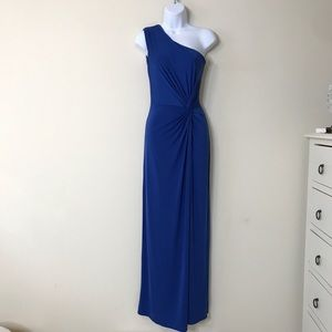 Soprano Royal Blue One Shoulder Fitted Maxi Dress